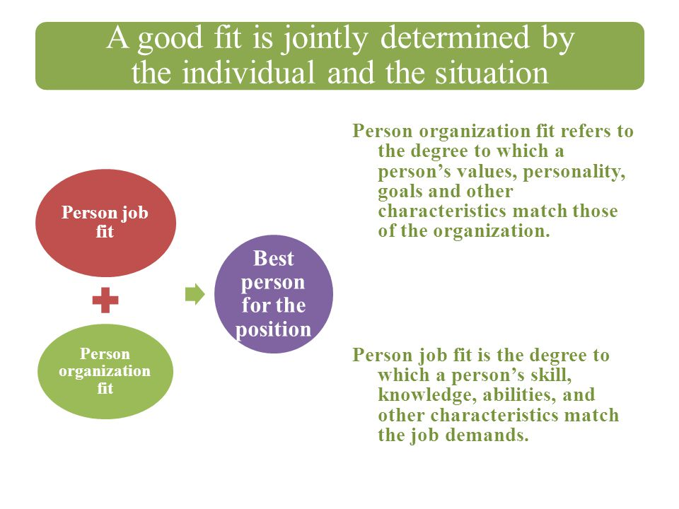 Person organization fit Best person for the position