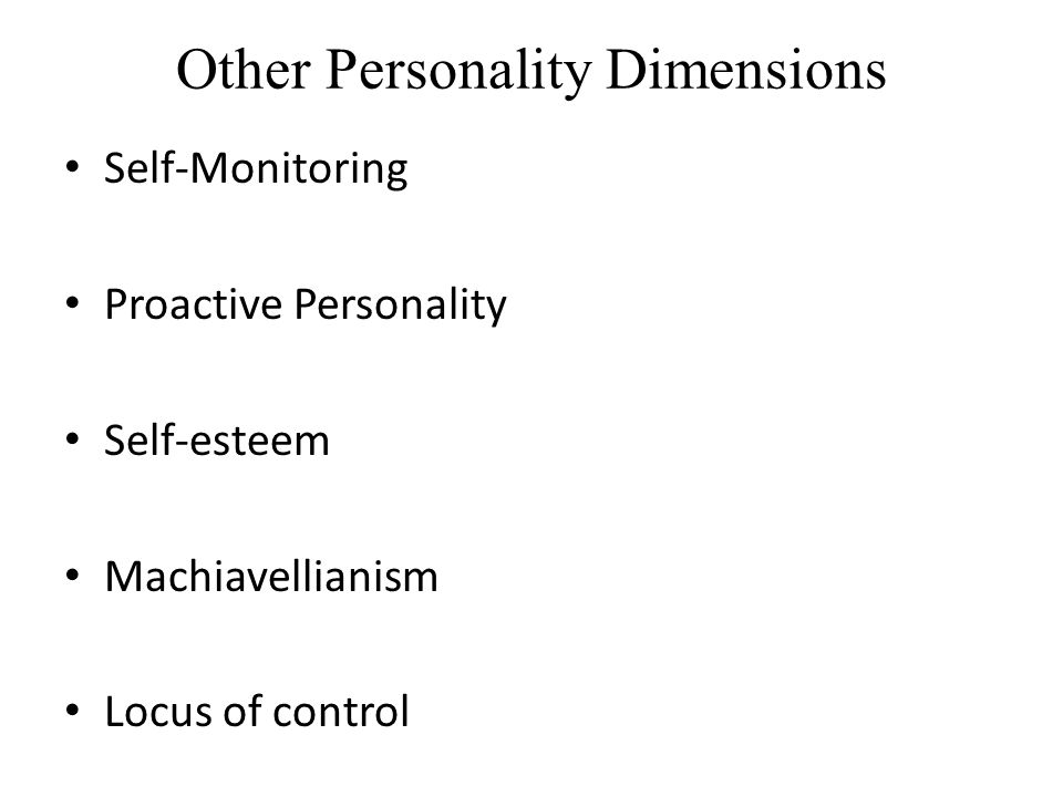 Other Personality Dimensions