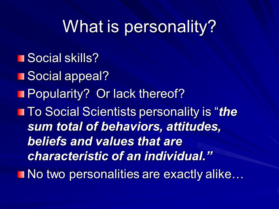 What is personality Social skills Social appeal