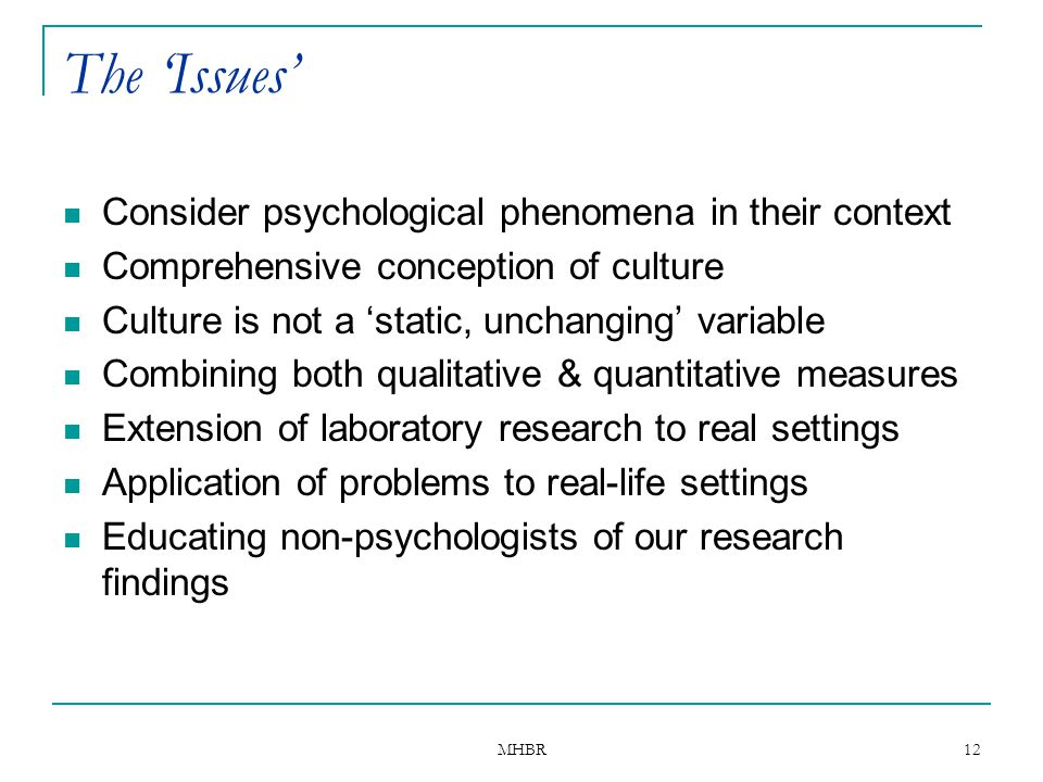 The 'Issues' Consider psychological phenomena in their context