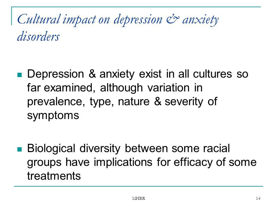 Cultural impact on depression & anxiety disorders