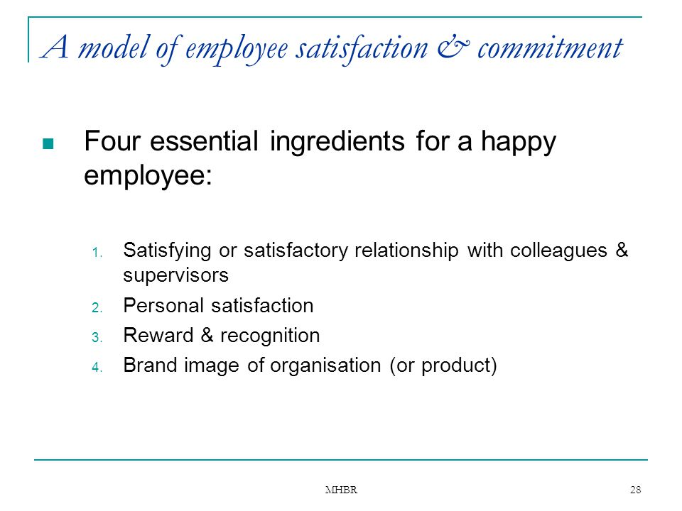 A model of employee satisfaction & commitment