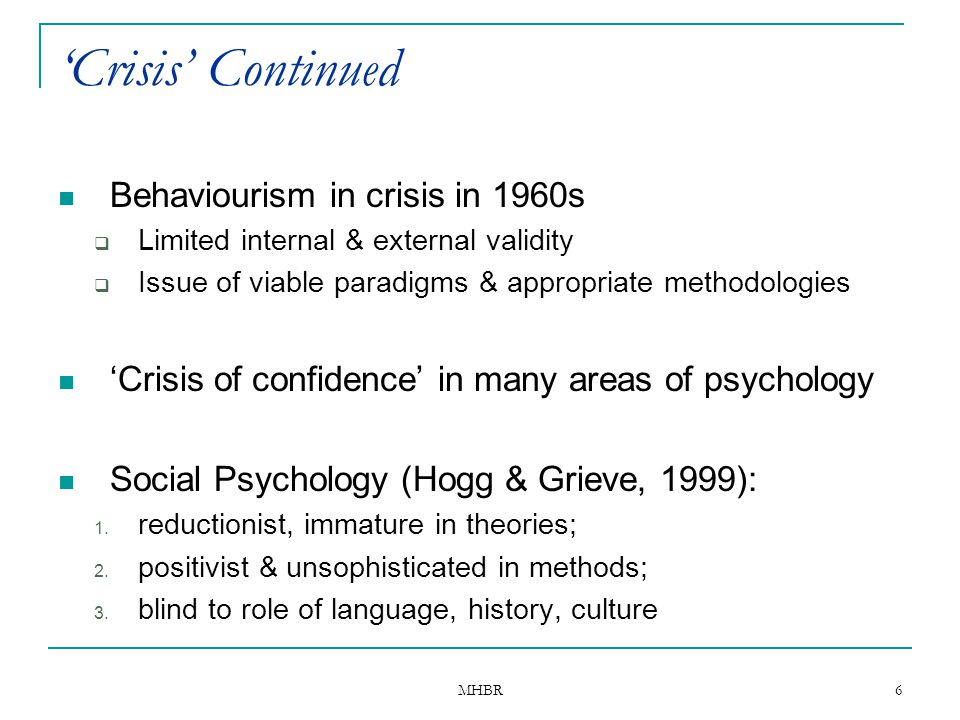 'Crisis' Continued Behaviourism in crisis in 1960s