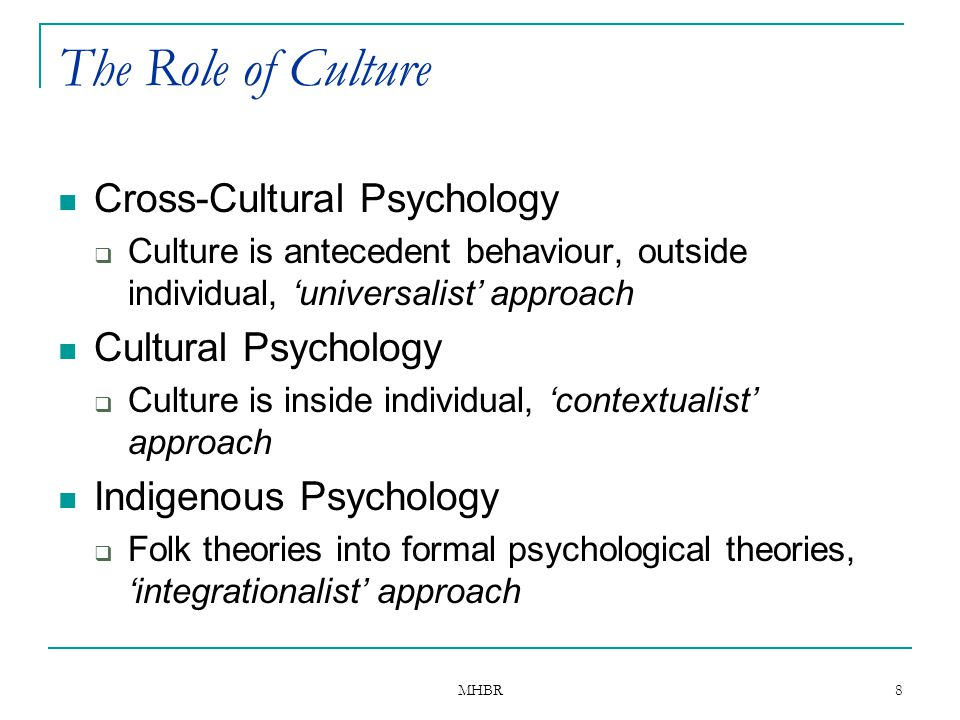 The Role of Culture Cross-Cultural Psychology Cultural Psychology