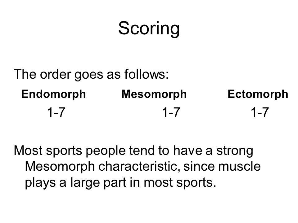 Scoring The order goes as follows: Endomorph Mesomorph Ectomorph