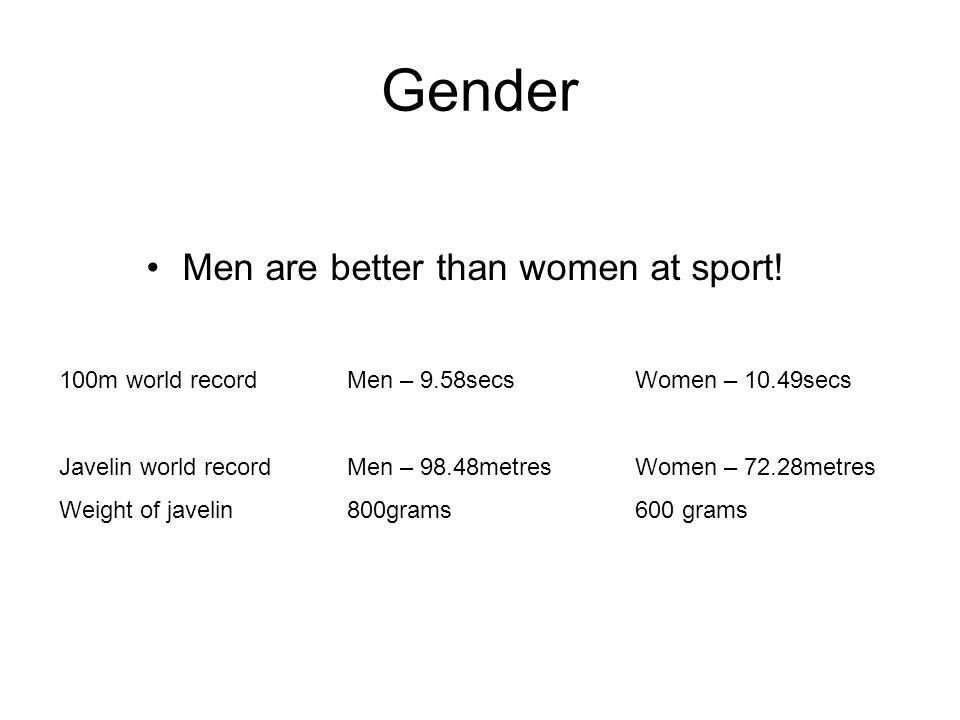 Men are better than women at sport!