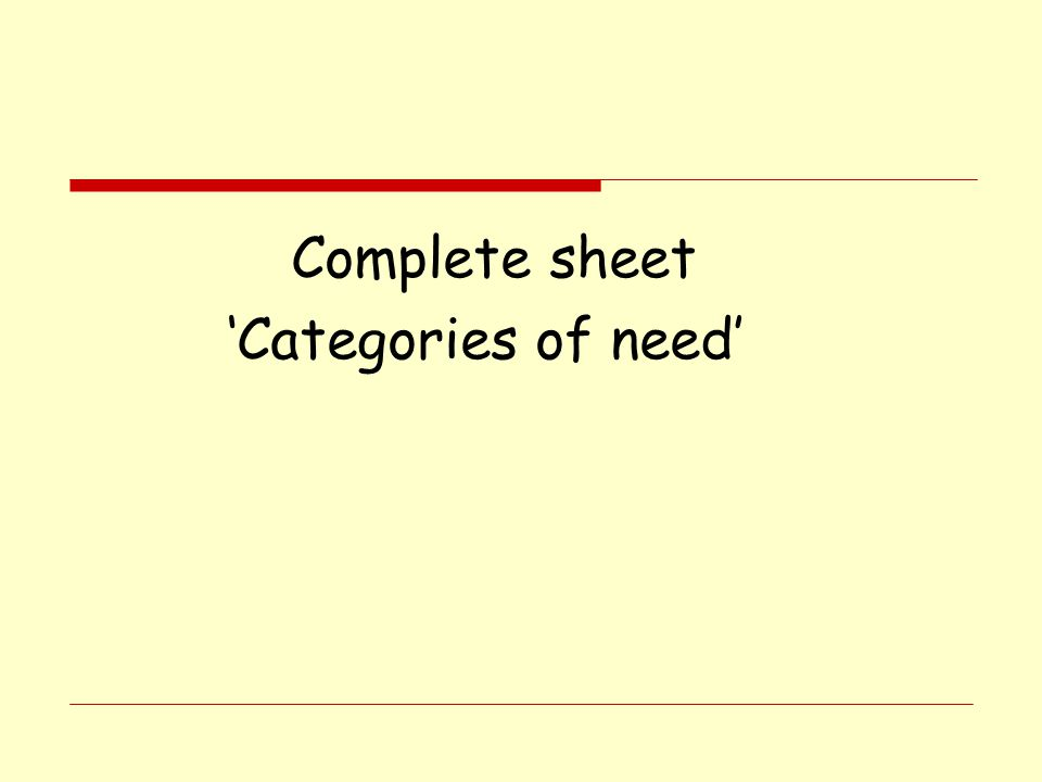 Complete sheet 'Categories of need'