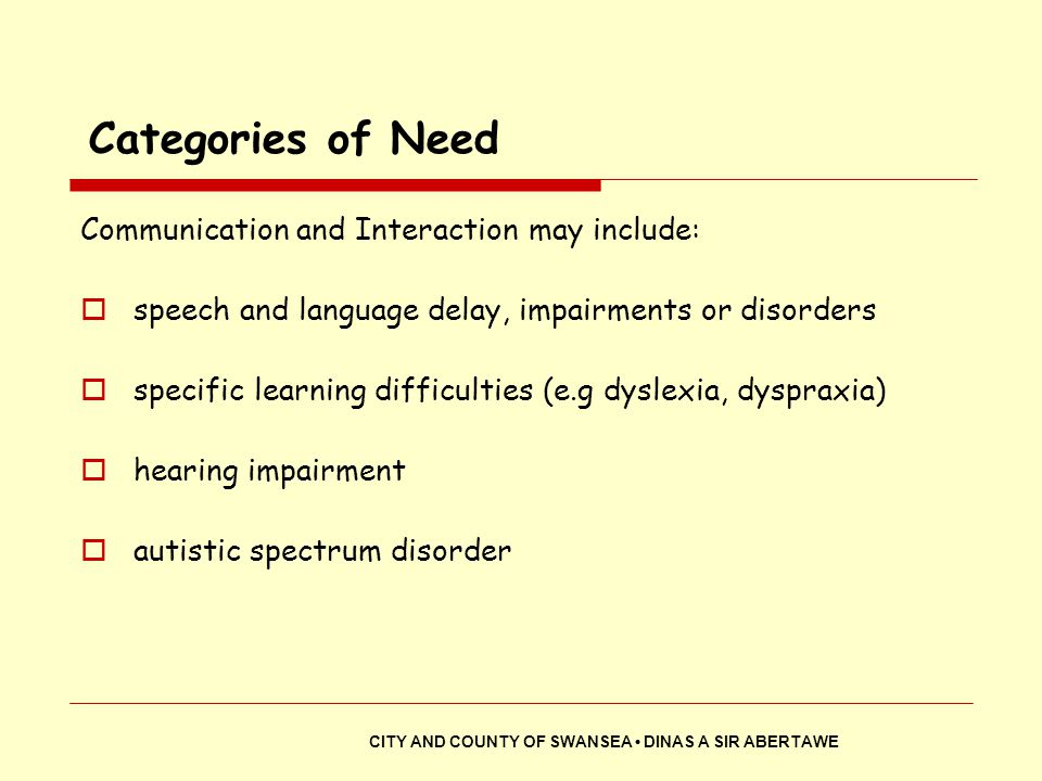 Categories of Need Communication and Interaction may include: