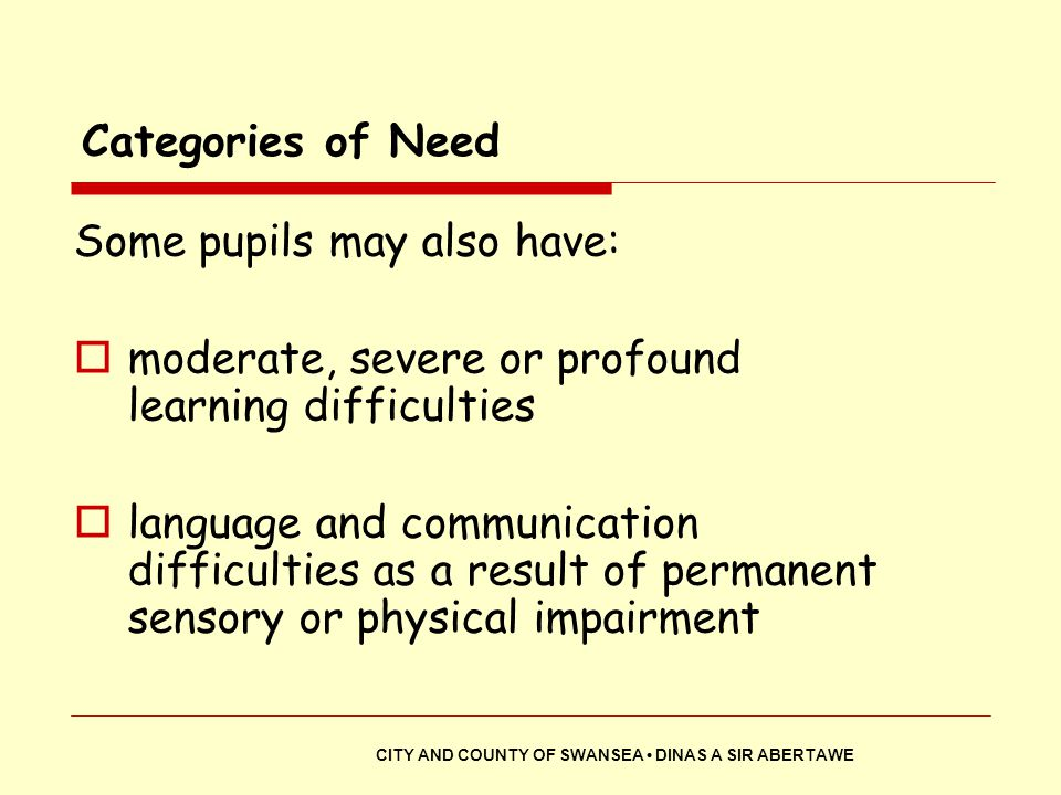Some pupils may also have: