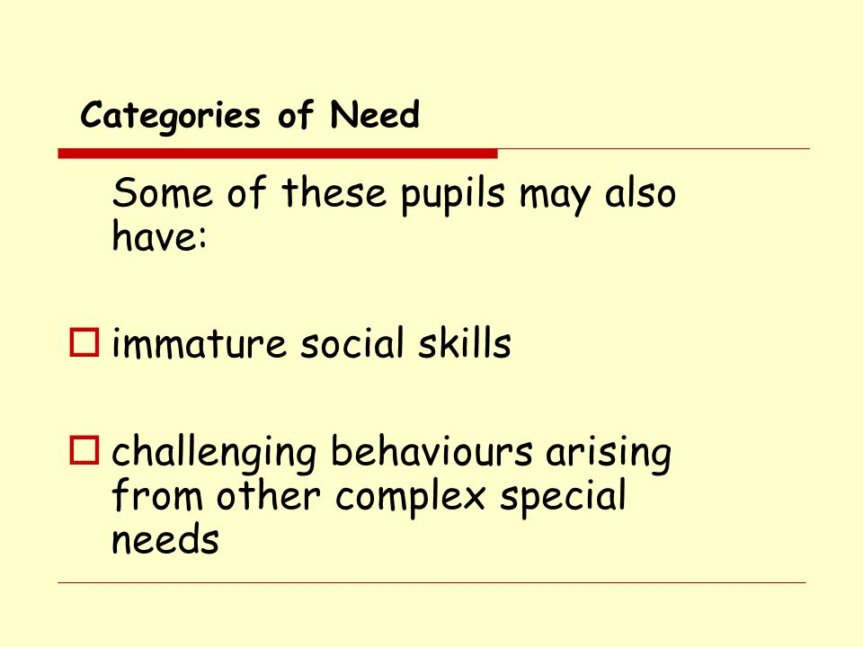 Some of these pupils may also have: