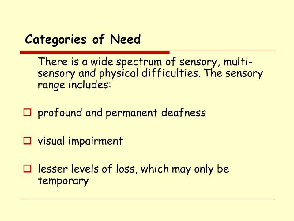 Categories of Need profound and permanent deafness visual impairment