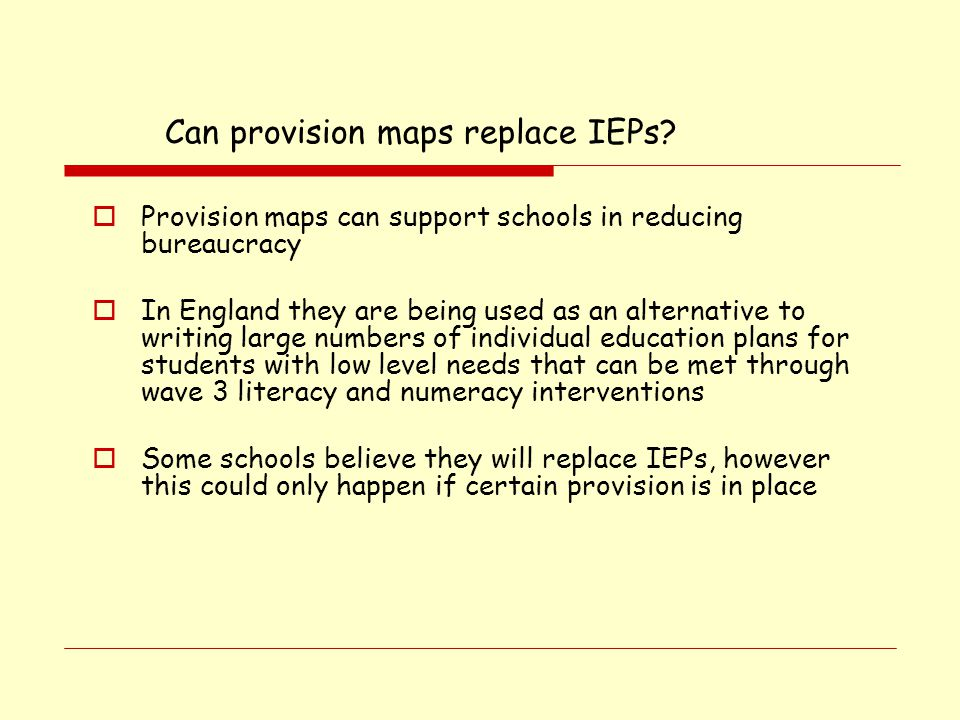 Can provision maps replace IEPs