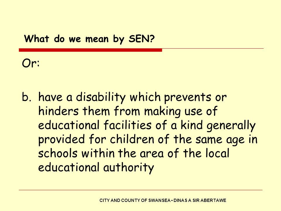 What do we mean by SEN Or:
