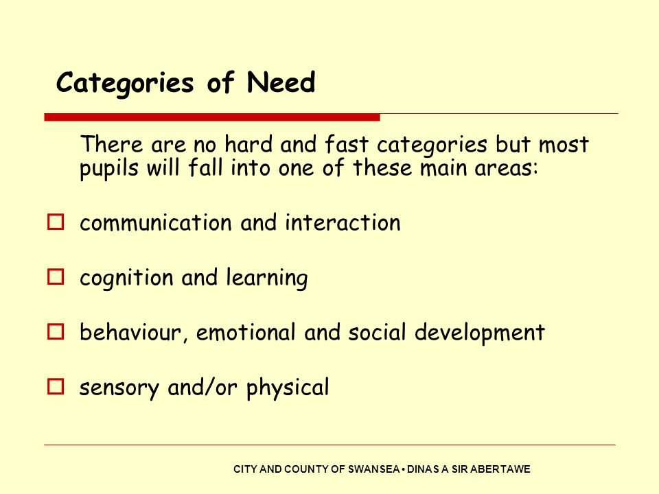 Categories of Need There are no hard and fast categories but most pupils will fall into one of these main areas: