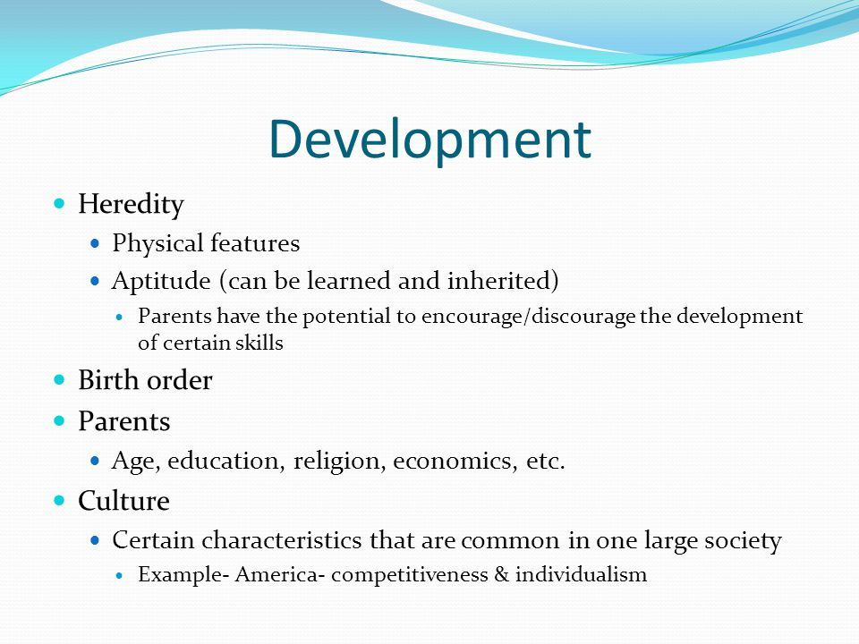 Development Heredity Birth order Parents Culture Physical features