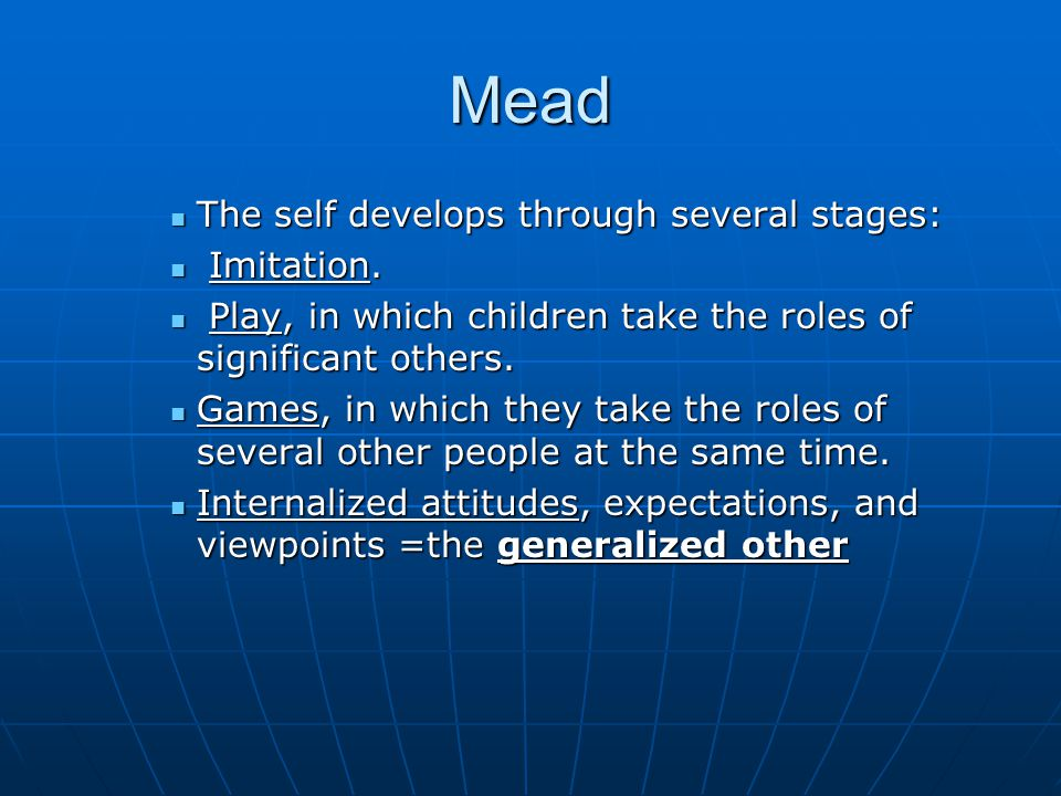 Mead The self develops through several stages: Imitation.
