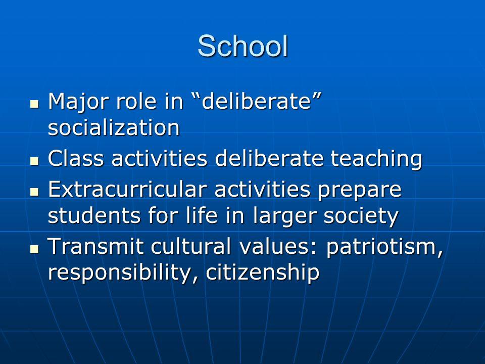 School Major role in deliberate socialization