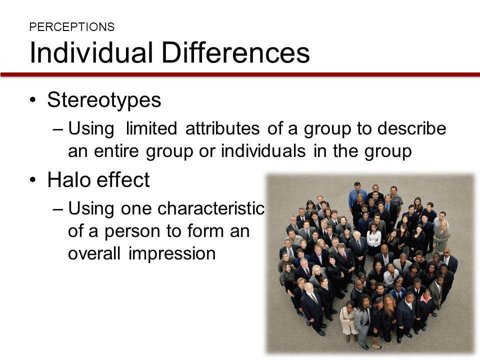 PERCEPTIONS Individual Differences