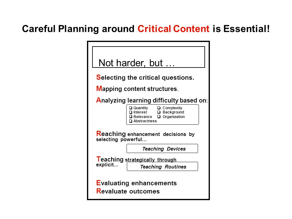 Careful Planning around Critical Content is Essential!