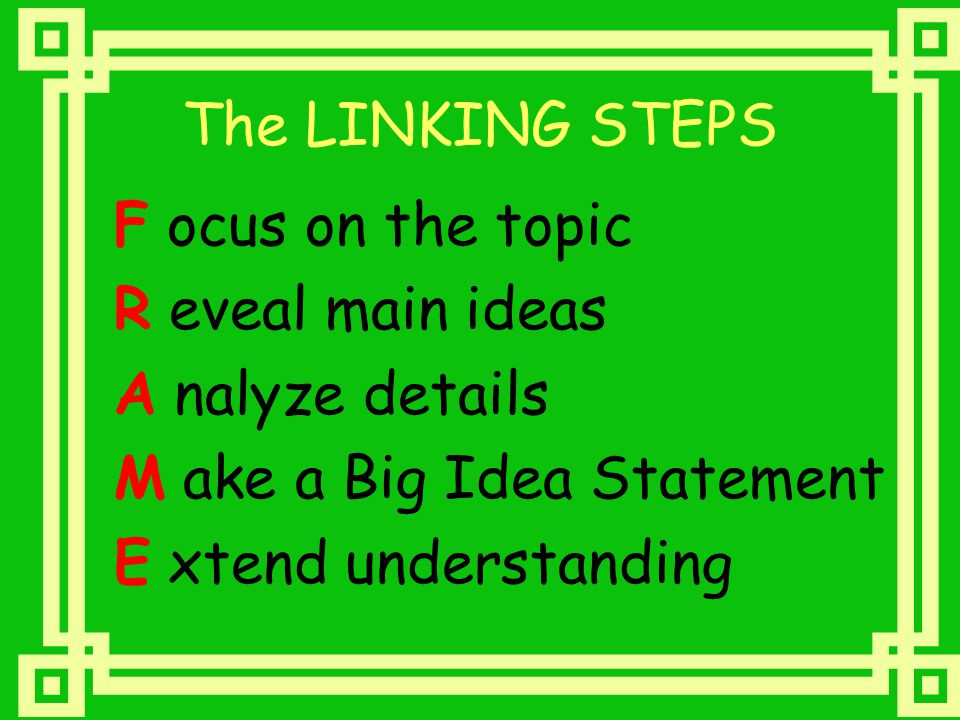 The LINKING STEPS F ocus on the topic. R eveal main ideas. A nalyze details. M ake a Big Idea Statement.