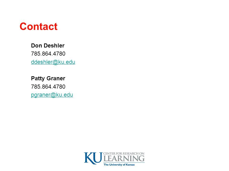 Contact Don Deshler 785.864.4780 ddeshler@ku.edu Patty Graner