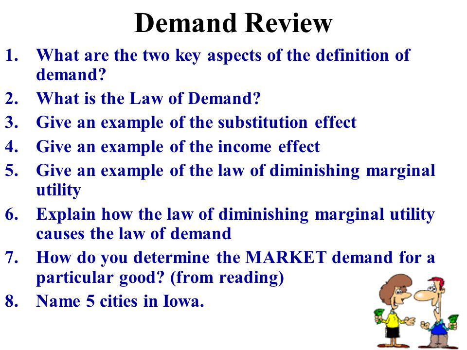 Demand Review What are the two key aspects of the definition of demand What is the Law of Demand