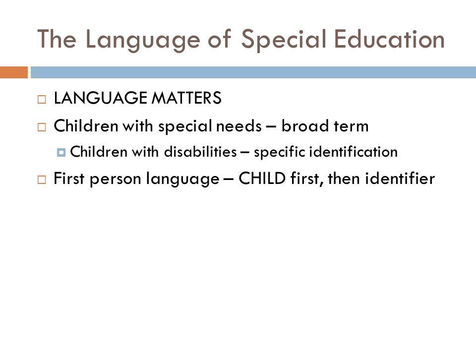 The Language of Special Education