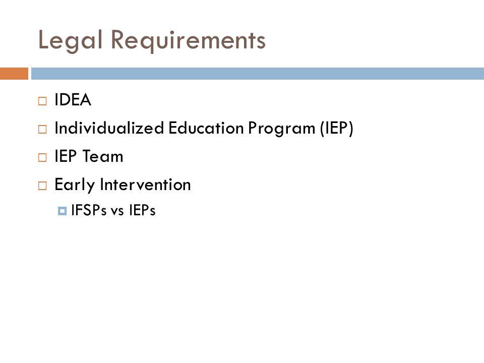 Legal Requirements IDEA Individualized Education Program (IEP)