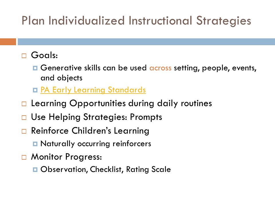 Plan Individualized Instructional Strategies
