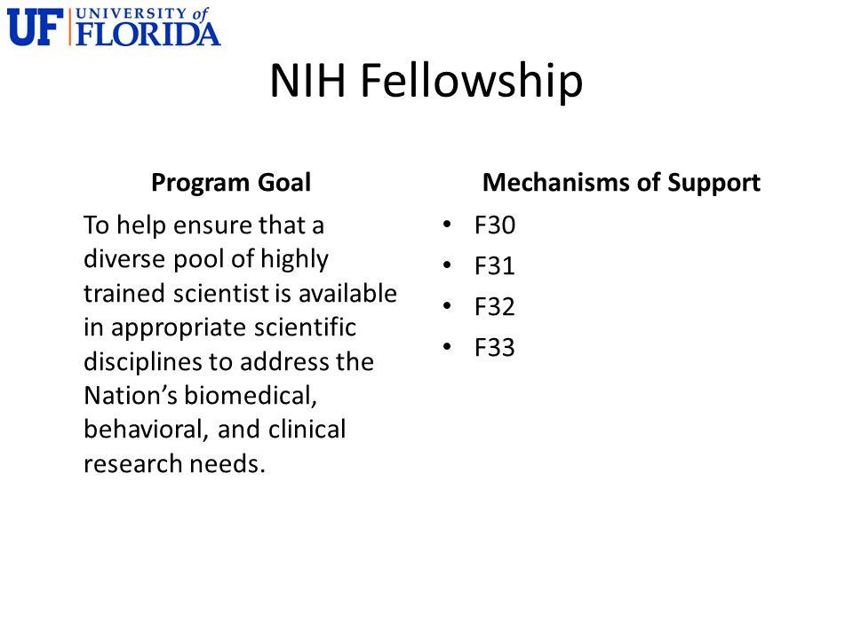 NIH Fellowship Program Goal Mechanisms of Support