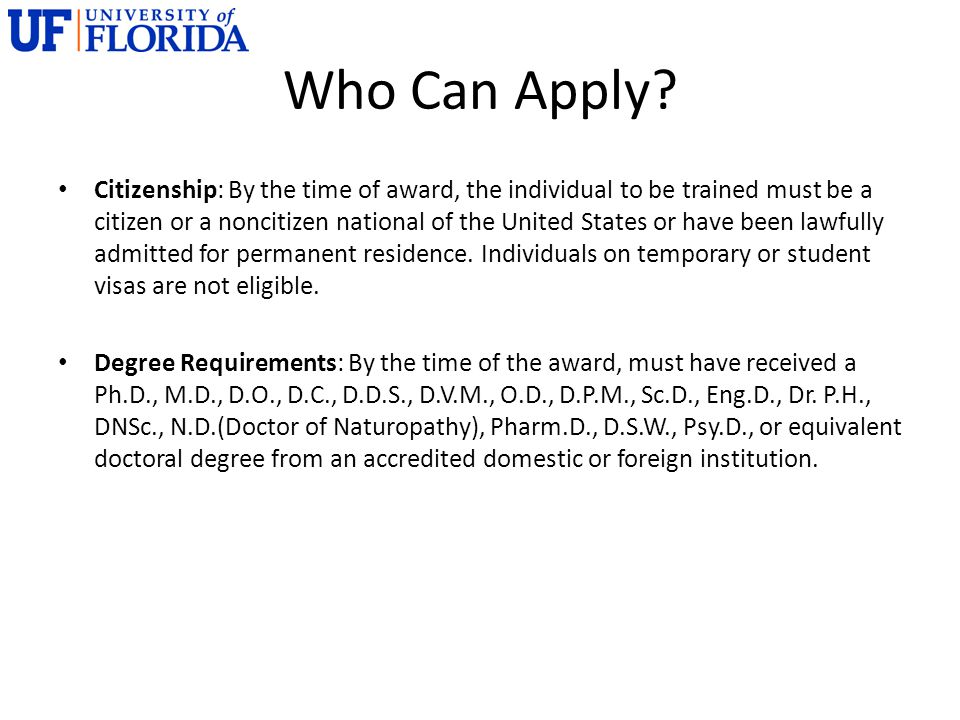 Who Can Apply