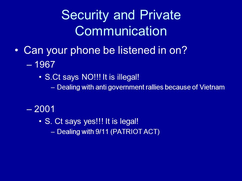 Security and Private Communication
