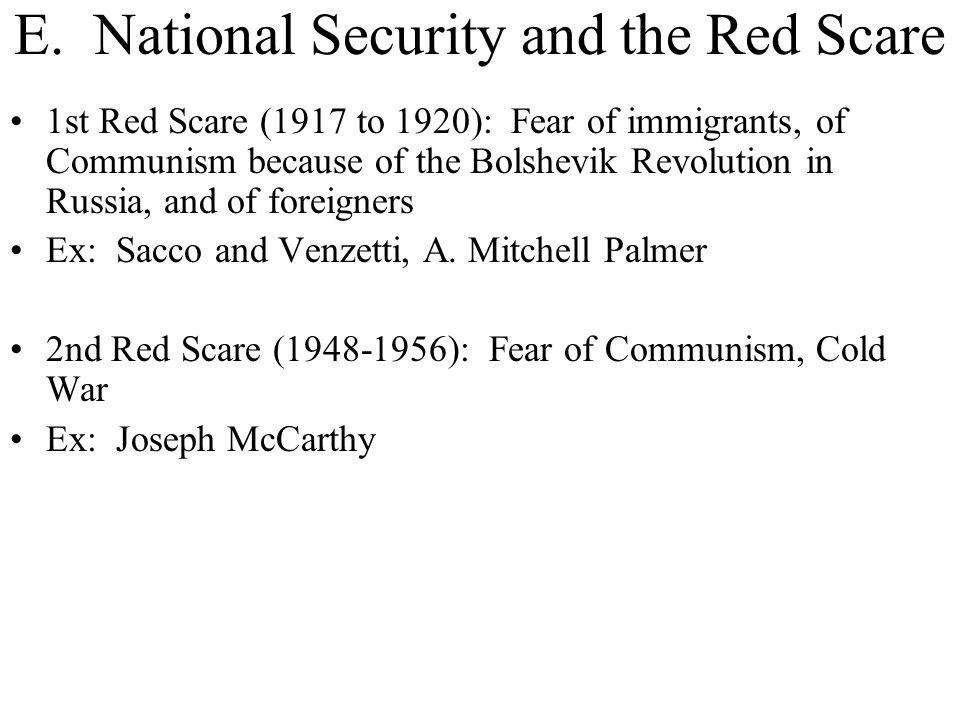 E. National Security and the Red Scare
