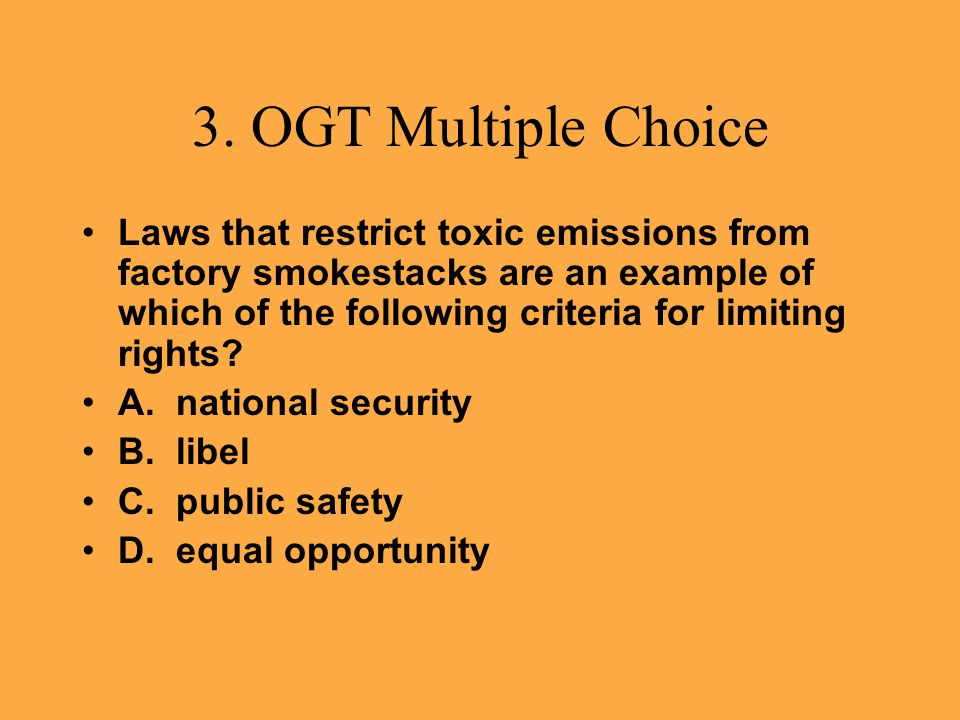 3. OGT Multiple Choice
