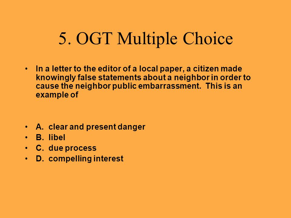 5. OGT Multiple Choice