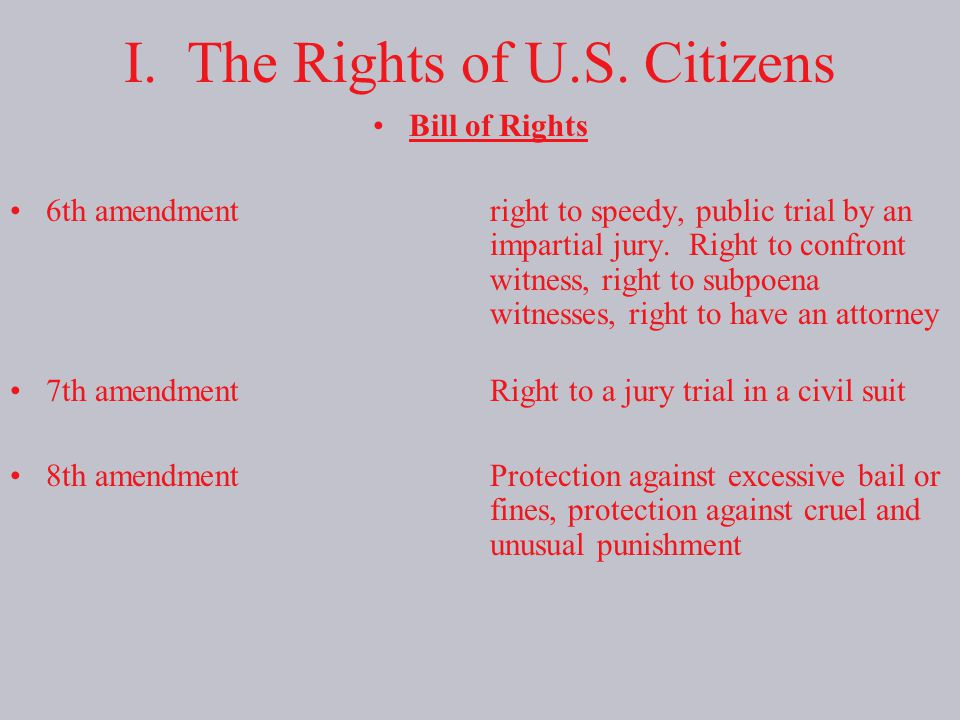 I. The Rights of U.S. Citizens
