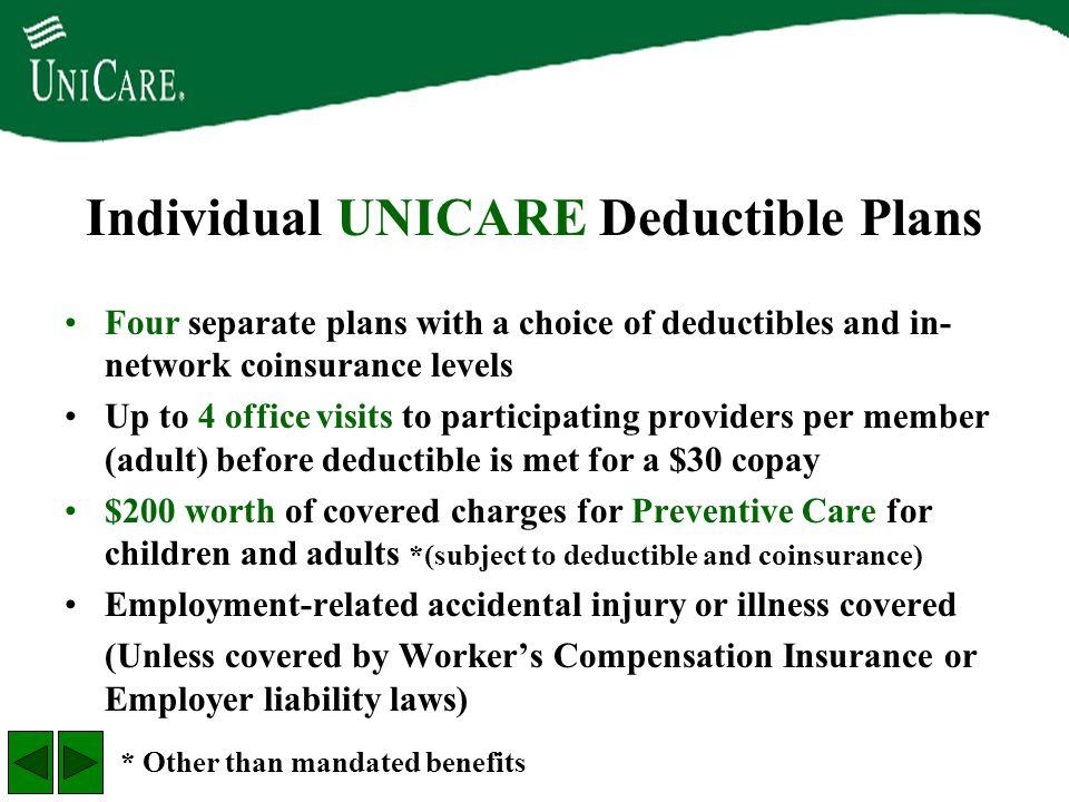 Individual UNICARE Deductible Plans