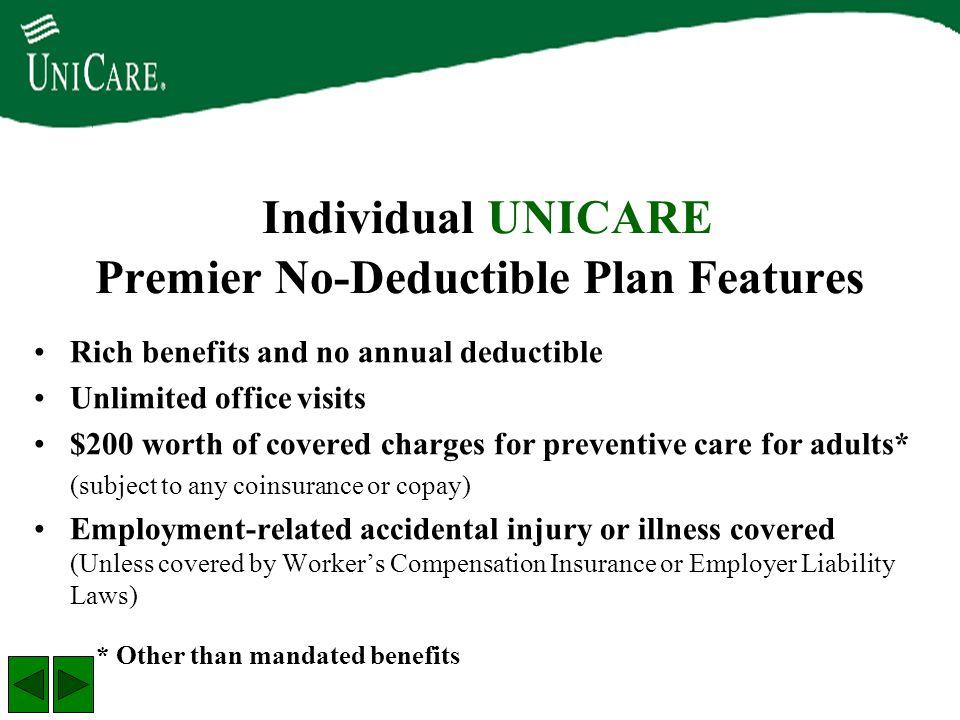 Individual UNICARE Premier No-Deductible Plan Features