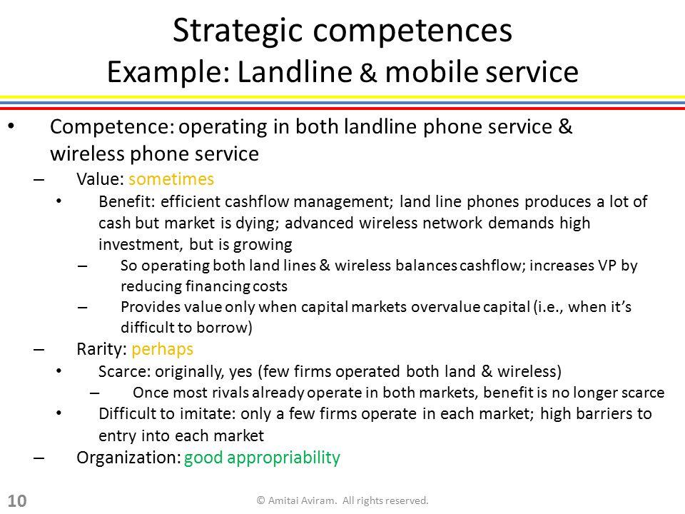 Strategic competences Example: Landline & mobile service