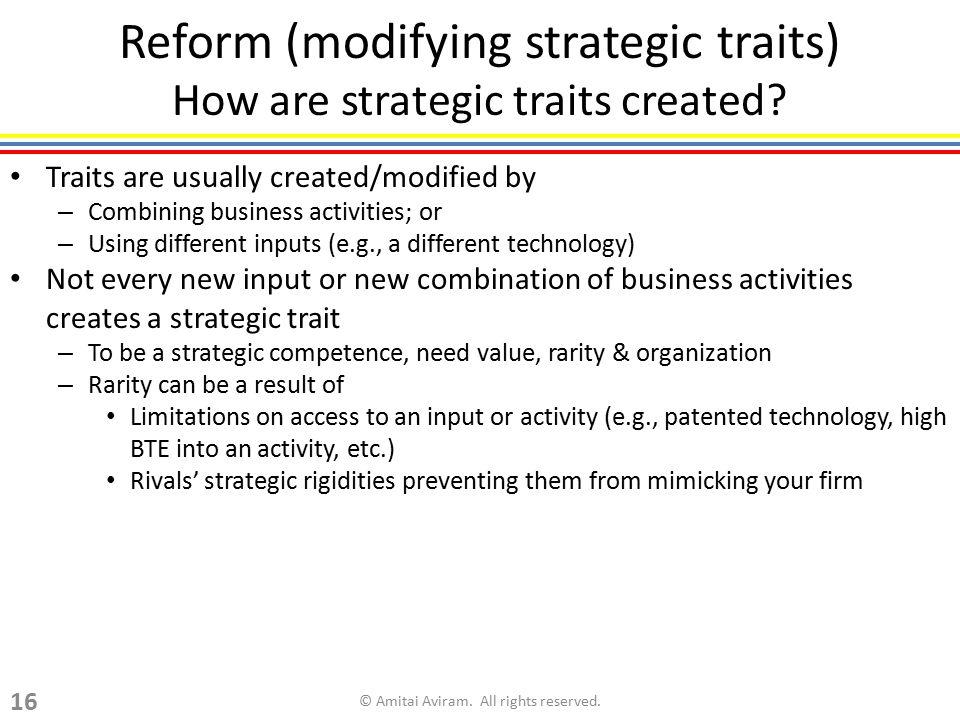 Reform (modifying strategic traits) How are strategic traits created