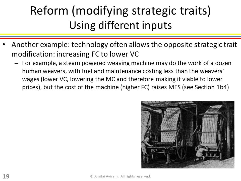 Reform (modifying strategic traits) Using different inputs