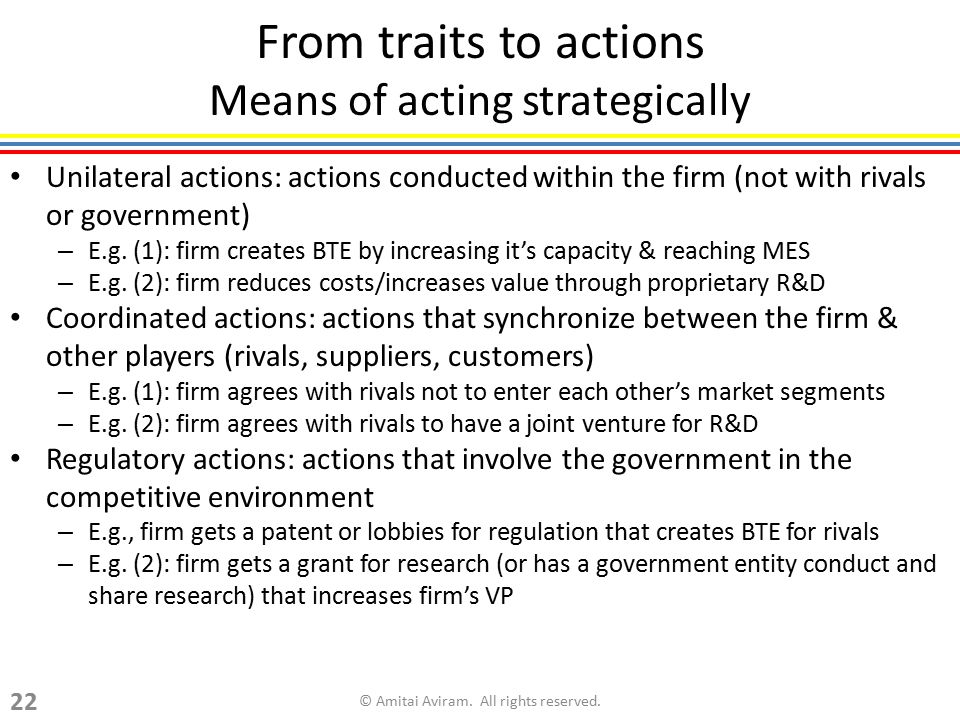 From traits to actions Means of acting strategically