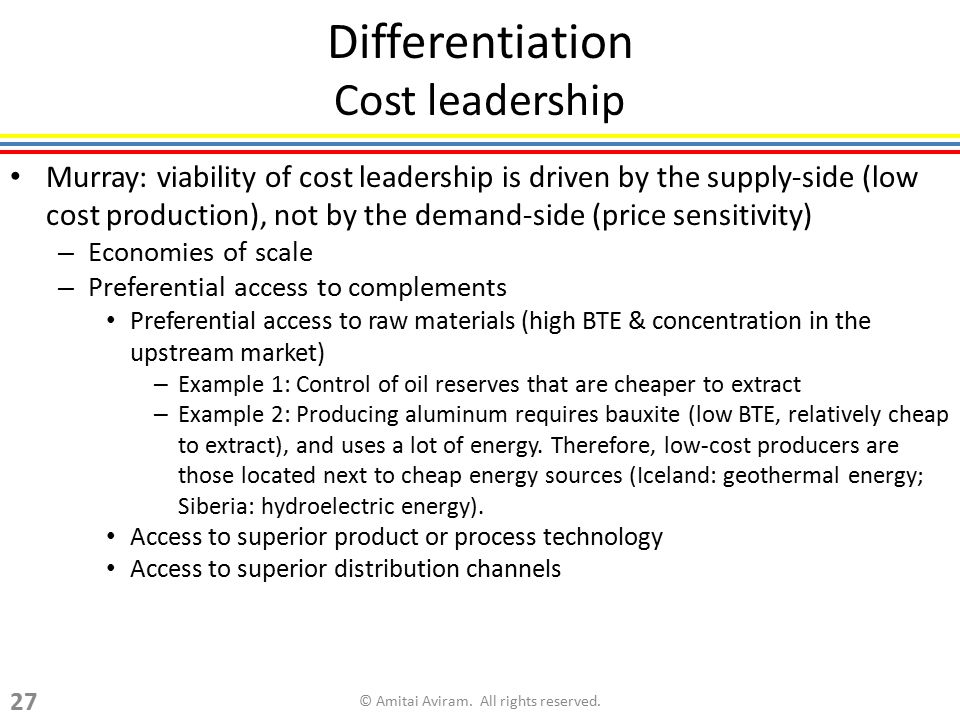 Differentiation Cost leadership