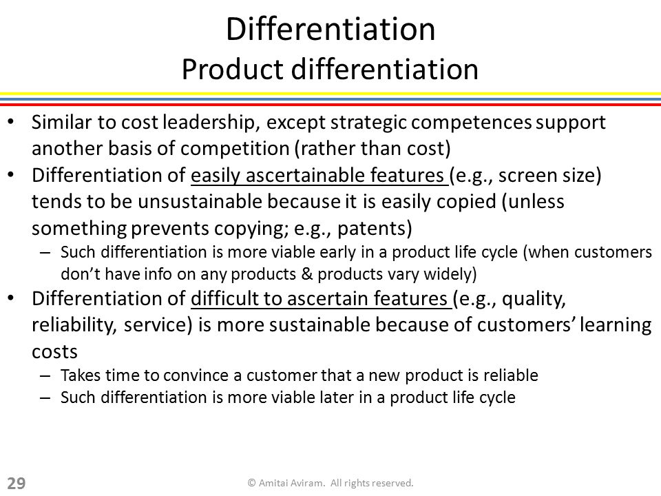 Differentiation Product differentiation