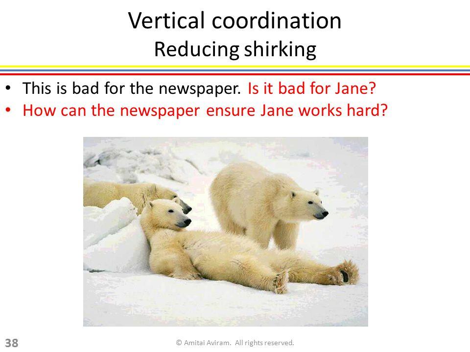 Vertical coordination Reducing shirking
