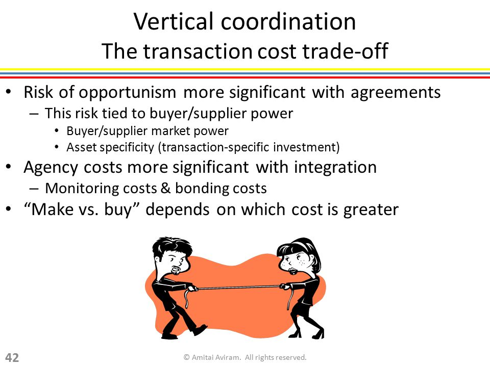 Vertical coordination The transaction cost trade-off