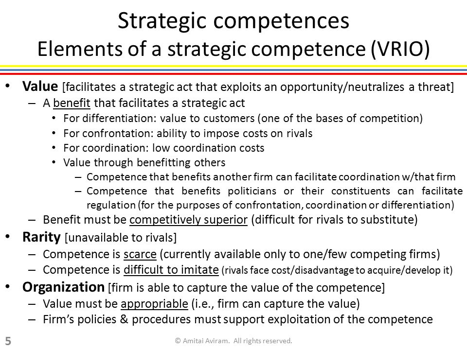 Strategic competences Elements of a strategic competence (VRIO)
