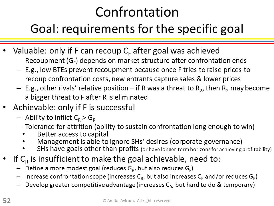 Confrontation Goal: requirements for the specific goal