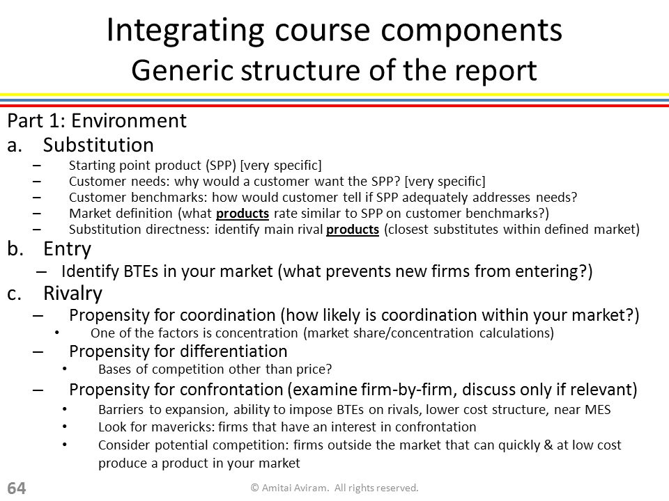 Integrating course components Generic structure of the report