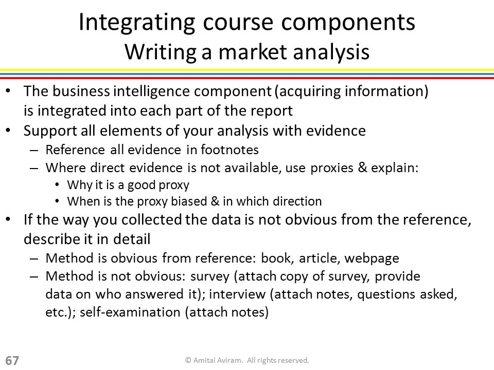 Integrating course components Writing a market analysis